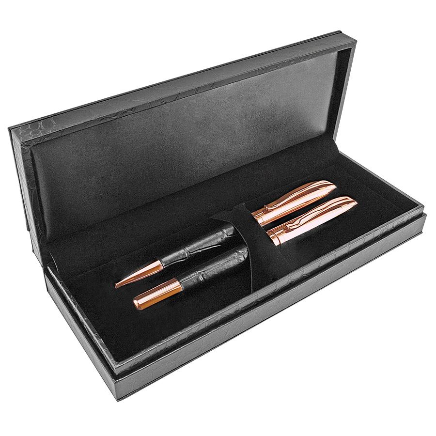 ALLIGATOR, набор: ручка шариковая и роллер в футляре, черный/розовое золото, металл/иск. кожа