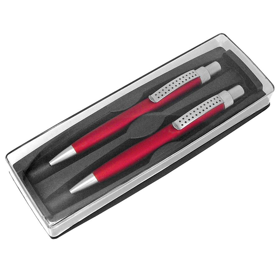 SUMO SET, набор в футляре: ручка шариковая и карандаш механический, красный/серебристый, металл/плас
