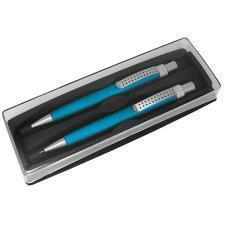 SUMO SET, набор в футляре: ручка шариковая и карандаш механический, бирюзовый/серебристый, металл/пл