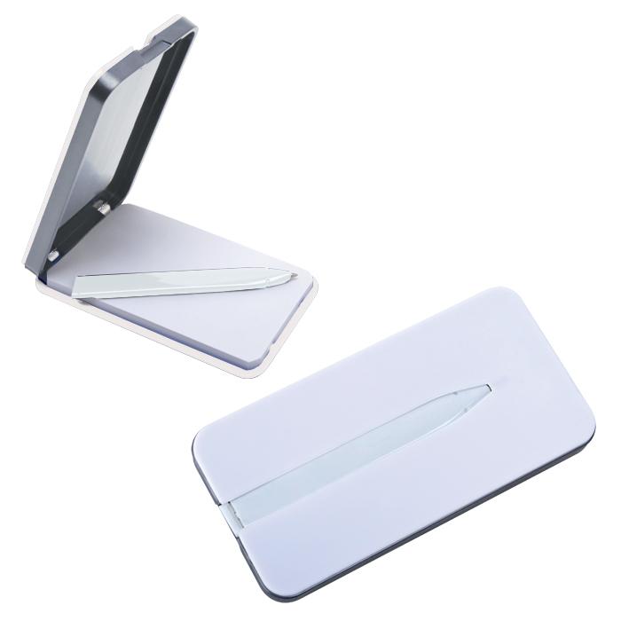 "Блокнот ""Apple"" с ручкой; белый, 5,7х11,4х1,2 см, пластик"