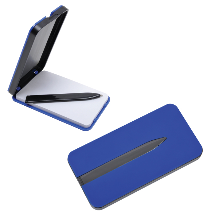 "Блокнот ""Apple"" с ручкой; синий, 5,7х11,4х1,2 см, пластик"