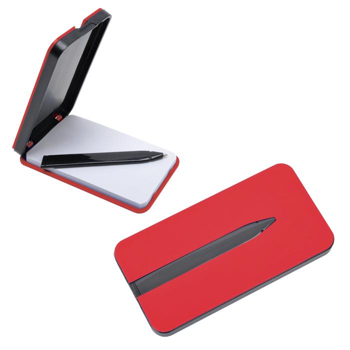 "Блокнот ""Apple"" с ручкой; красный, 5,7х11,4х1,2 см, пластик"