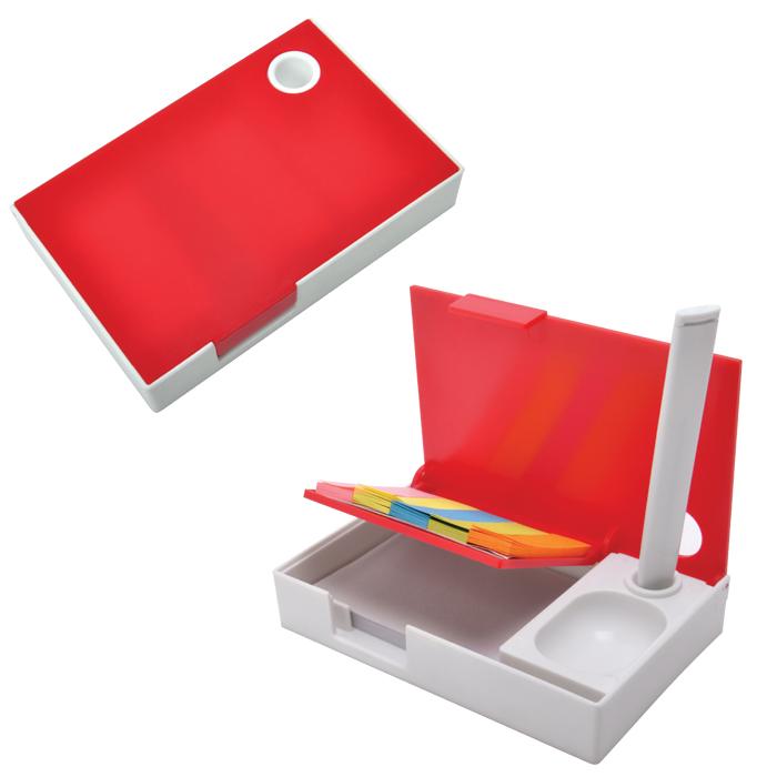 """Набор канцелярский """"Handy"""":ручка,блокнот и листочки для записи post-it, белый с красным, 10,1х6,5х1,"""