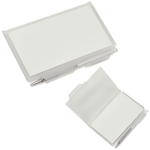 Блокнот для записей с авторучкой; белый фростированный; 10,5х7,9х1,1 см; пластик; тампопечать