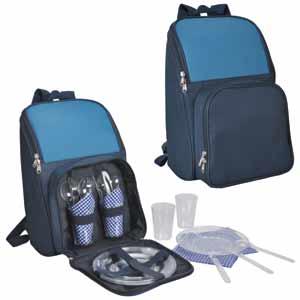 """Набор для пикника на 4 персоны в рюкзаке """"ПОХОД"""": термоотсек, столовые приборы, тарелки, стаканы"""