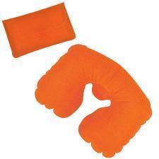 Подушка надувная дорожная в футляре; оранжевый; 43,5х27,5 см; твил; шелкография