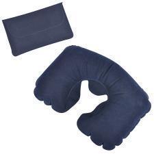 Подушка надувная дорожная в футляре; синий; 43,5х27,5 см; твил; шелкография