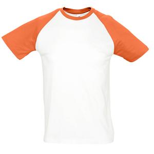 "Футболка ""Funky"", белый с оранжевым_S, 100% х/б, 150 г/м2"