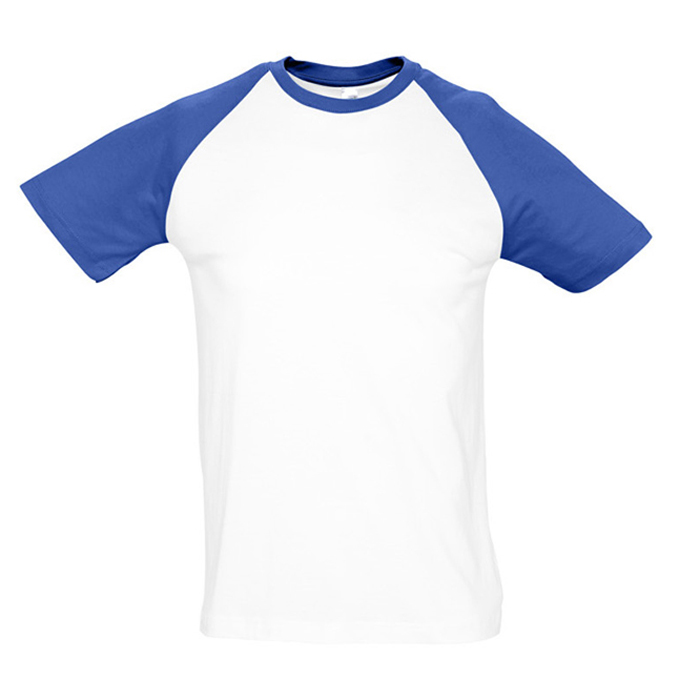 "Футболка ""Funky"", белый с ярко-синим_S, 100% х/б, 150 г/м2"