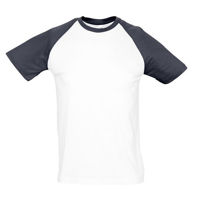 """Футболка """"Funky"""", белый с темно-синим_L, 100% х/б, 150 г/м2"""
