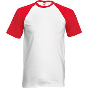 """Футболка """"Short Sleeve Baseball T"""", белый с красным_M, 100% х/б, 160 г/м2"""