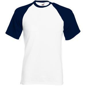 "Футболка ""Short Sleeve Baseball T"", белый с глубоким темно-синим_S, 100% х/б, 160 г/м2"