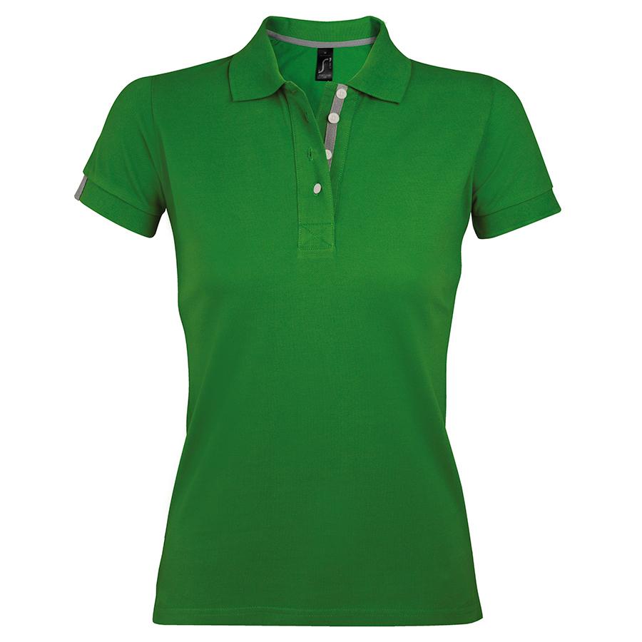 """Поло """"Portland Women"""", зеленый, серый_S, 100% х/б, 200г/м2"""
