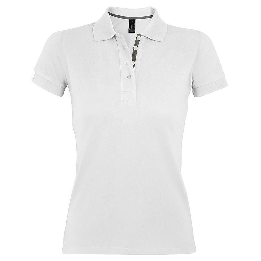 """Поло """"Portland Women"""", белый, серый_S, 100% х/б, 200г/м2"""