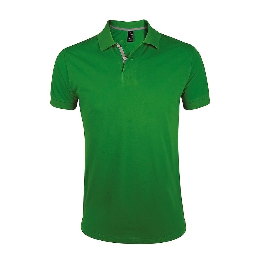 """Поло """"Portland Men"""" зеленый, серый_S, 100% х/б, 200г/м2"""