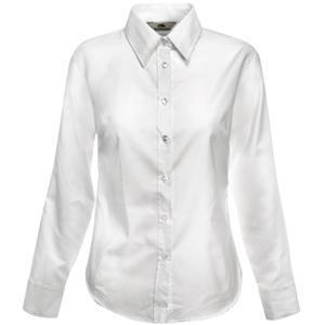 "Рубашка ""Lady-Fit Long Sleeve Oxford Shirt"", белый_XS, 70% х/б, 30% п/э, 130 г/м2"