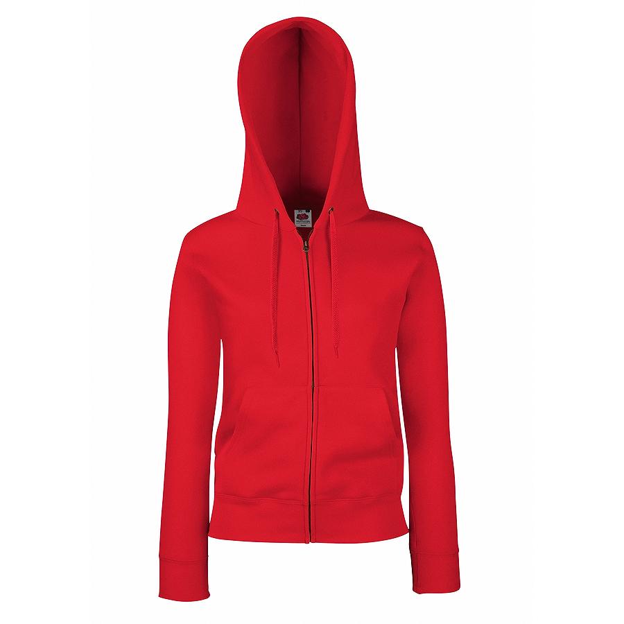"Толстовка ""Lady-Fit Hooded Sweat Jacket"", красный_XS, 75% х/б, 25% п/э, 280 г/м2"