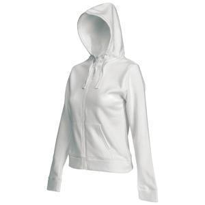 "Толстовка ""Lady-Fit Hooded Sweat Jacket"", белый_M, 75% х/б, 25% п/э, 280 г/м2"