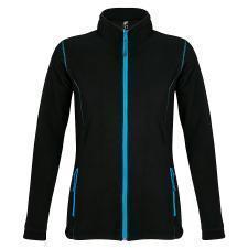 """Толстовка """"Nova Women"""", черная с ярко-голубым_XL, 100% полиэстер, флис, 200г/м2"""