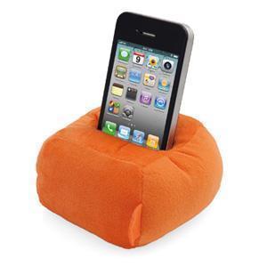 """Подставка для мобильного телефона """"Пуф""""; оранжевая; 12х6х12см; полиэстер;"""