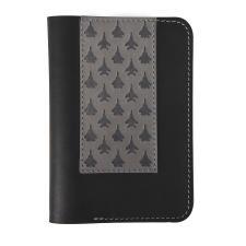 """Обложка для паспорта,""""Самолеты"""",черный, кожа натуральная 100%"""