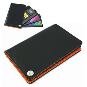 Футляр для пластик. карт,визиток,карт памяти и SIM-карт, черный с оранжевым, 7х10,3х1,2 см;иск.кожа