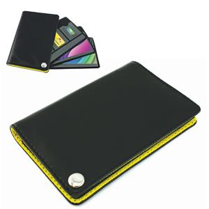 Футляр для пластик. карт,визиток,карт памяти и SIM-карт, черный с желтым, 7х10,3х1,2 см;иск.кожа