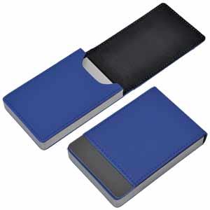 "Визитница ""Вертикаль""; синий; 9,5х6,4х1,7 см; иск. кожа, металл; лазерная гравировка"