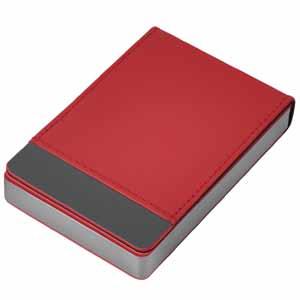 """Визитница """"Вертикаль""""; красный; 9,5х6,4х1,7 см; иск. кожа, металл; лазерная гравировка"""
