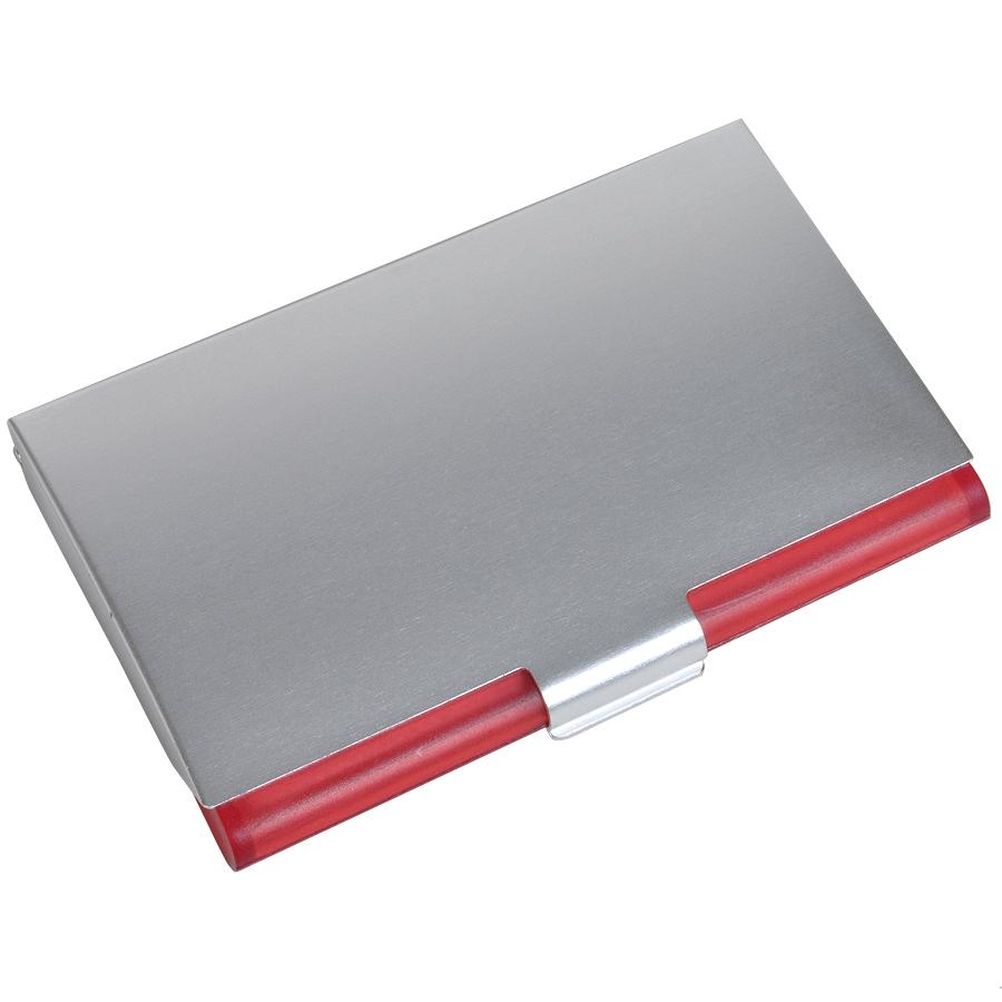 Визитница с брелоком; красный; 9,6х6,2х1,2 см; металл, пластик; лазерная гравировка, тампопечать