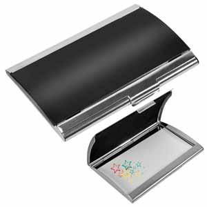 """Визитница """"Берлин""""; черный с серебристым; 9,4х6,2х1 см см; металл; лазерная гравировка, тампопечать"""