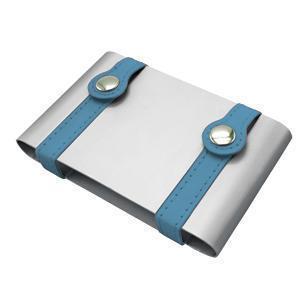 Визитница ; серебристый с бирюзовым; 10х6,5х2 см; металл; лазерная гравировка