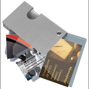 Визитница; 6,5х10,8х1,5 см; металл; лазерная гравировка