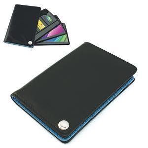 Футляр для пластик. карт,визиток,карт памяти и SIM-карт, черный с голубым, 7х10,3х1,2 см;иск.кожа