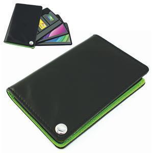 Футляр для пластик. карт,визиток,карт памяти и SIM-карт, черный с зеленым, 7х10,3х1,2 см;иск.кожа