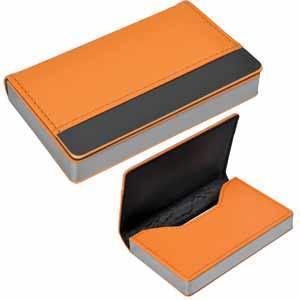 """Визитница """"Горизонталь""""; оранжевый; 10х6,5х1,7 см; иск. кожа, металл; лазерная гравировка"""