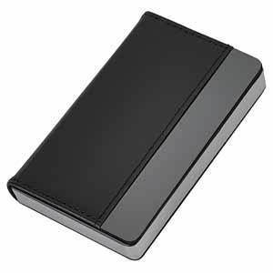 """Визитница """"Горизонталь""""; черный; 10х6,5х1,7 см; иск. кожа, металл; лазерная гравировка"""
