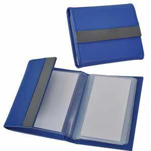 Футляр для карт; 20 кармашков; синий; 10,7х8,5х1,8 см; иск. кожа, металл; лазерная гравировка