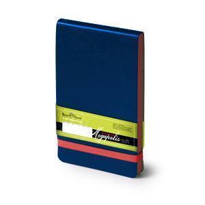 Еженедельник  датированный Megapolis Soft, А6, синий, бежевый блок, голубой обрез и резинка