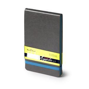 Еженедельник  датированный Megapolis Soft, А6, темно-серый, бежевый блок, голубой обрез
