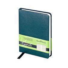 Ежедневник недатированный Megapolis, А6, зеленый, бежевый блок, без обреза, ляссе
