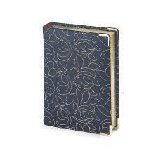 Ежедневник полудатированный Riviera, А6+, синий, бежевый блок, серебряный обрез, два ляссе