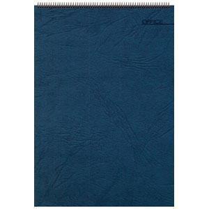 Блокнот Office синий, А4, 198х285 мм, верхний гребень, белый блок, клетка, 60 листов