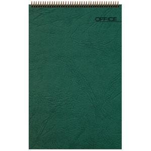 Блокнот Office зеленый, А6, 94х130 мм, верхний гребень, белый блок, клетка, 60 листов