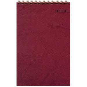 Блокнот Office бордовый, А6, 94х130 мм, верхний гребень, белый блок, клетка, 60 листов
