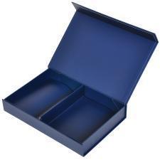 Коробка подарочная складная,  темно-синий,  16*24*4  см,  кашированный картон, тиснение, самосборная