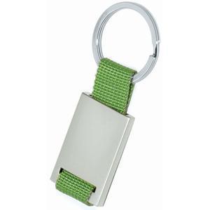 Брелок; зеленый с серебристым; 8,4х3,5х0,5 см; металл, текстиль; лазерная гравировка