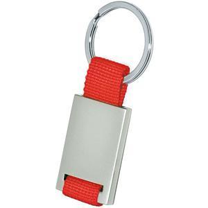 Брелок; красный с серебристым; 8,4х3,5х0,5 см; металл, текстиль; лазерная гравировка