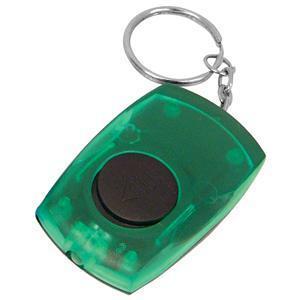 Брелок со светодиодом; зеленый; 5,5х3,5х1,4 см; пластик; тампопечать