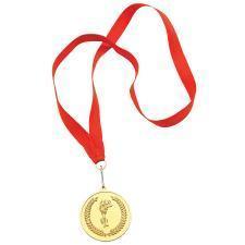 """Медаль наградная на ленте """"Золото""""; 48 см., D=5см.; текстиль, латунь; лазерная гравировка, шелкограф"""